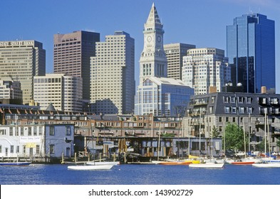 Skyline of Boston with Custom House Tower, Massachusetts