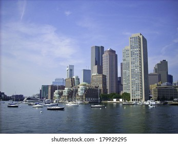 Skyline of Boston Harbor coming in from a ferry