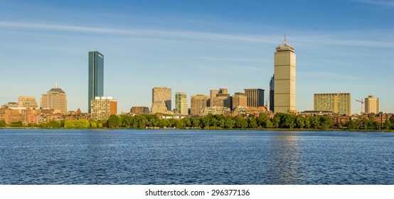 Skyline of Boston in Massachusetts, USA at Back Bay by the Charles River on a sunny summer day.