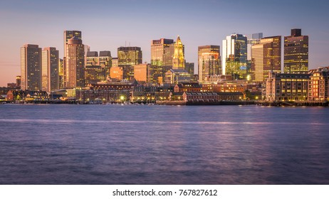 The skyline of Boston in Massachusetts, USA at night with its mix of contemporary and historic architecture.