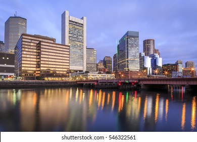 The skyline of Boston in Massachusetts, USA at sunrise showcasing its skyscrapers at the Financial District in the North End of the city.