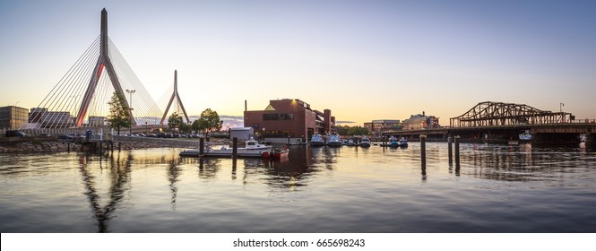The skyline of Boston in Massachusetts, USA at sunset.