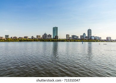 skyline of Boston seen from river Charles