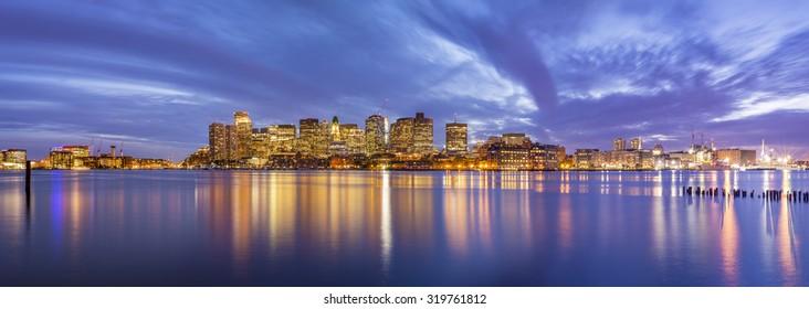 The skyline of Boston at sunset in Massachusetts, USA.
