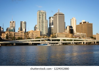 Skyline of Brisbane city, Australia in sunset light.