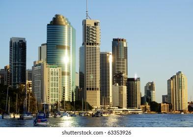 Skyline of Brisbane city CBD in Australia seen from the Brisbane River.