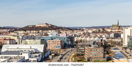 Skyline Of Brno With Spilberk Castle And Cathedral of St Peter and Paul - Brno, Moravia, Czech Republic, Europe