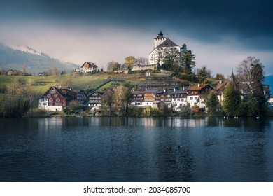 Skyline of Buchs with Werdenberg Castle and Werdenberg Lake - Buchs, Switzerland