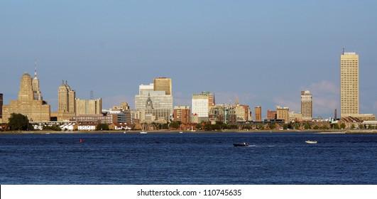 Skyline of Buffalo, NY, as seen from across the Niagara River from Canada