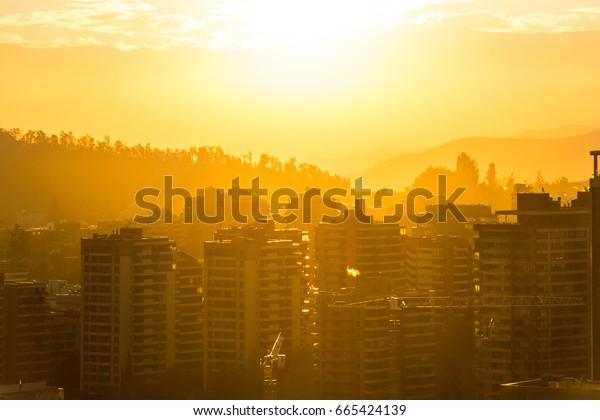 Skyline of buildings at a wealthy neighborhood in Las Condes district, Santiago de Chile