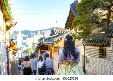 skyline at bukchon hanok village seoul city korea