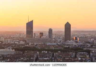 The skyline of the business center in the French city of Lyon during a summer sunrise.