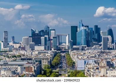 Skyline of business district of Paris, La Defense. Modern architecture
