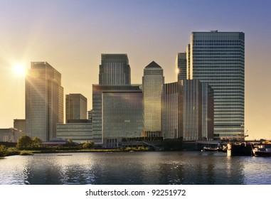 Skyline of Canary Wharf in sunset, London, UK