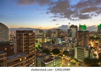 Skyline of Caracas city at dusk, Venezuela. - Shutterstock ID 1290119089