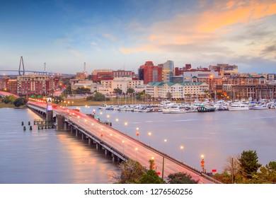 Skyline of Charleston, South Carolina, USA over the Ashley River at twilight.