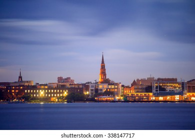 Skyline of Charleston, South Carolina, USA at twilight.