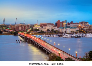 Skyline of Charleston, South Carolina, USA over the Ashley River at twilight.