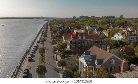 Skyline of Charleston at sunset, aerial view of South Carolina.
