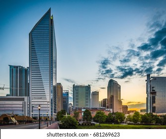 Skyline of Charlotte, North Carolina at sunrise.