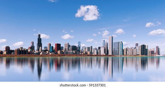 Skyline of Chicago city with reflection, illinois. USA