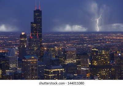 Skyline Chicago with Storm in a Distance. Chicago South Side View. Chicago, IL USA. American Cities Photo Collection.