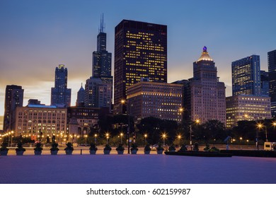 Skyline of Chicago at sunset. Chicago, Illinois, USA.