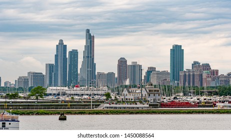 Skyline of Chicago - view from Navy Pier - CHICAGO, ILLINOIS - JUNE 11, 2019
