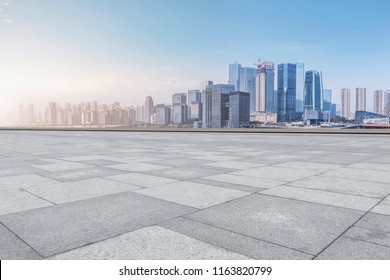 The skyline of Chongqing's urban skyline with an empty square fl