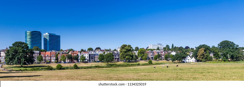 Skyline of city  Arnhem, Netherlands, with Park Sonsbeek in the foreground.