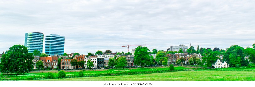 Skyline of city Arnhem, Netherlands, with Park Sonsbeek in the foreground