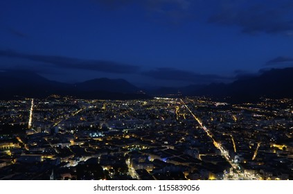 Skyline of the city of Grenoble at night