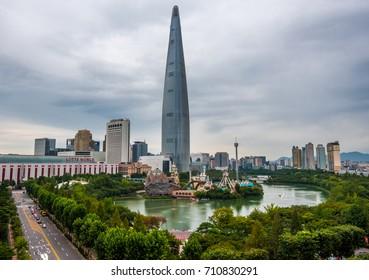 skyline city at lotte world seoul korea: 5 september 2017 seoul korea