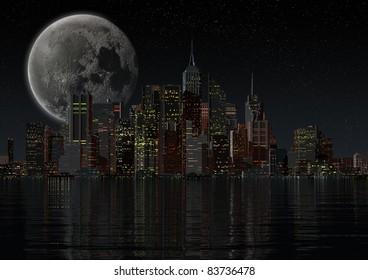 skyline of a city at night