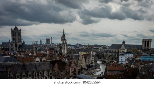 the skyline of the city og Ghent viewed from the gravensteen castle in Ghent, Belgium, Europe
