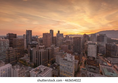 Skyline City Panorama of Vancouver, Canada aerial view at sunset