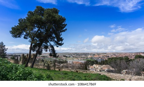Skyline of the city of Toledo, Spain on a sunny winter afternoon.