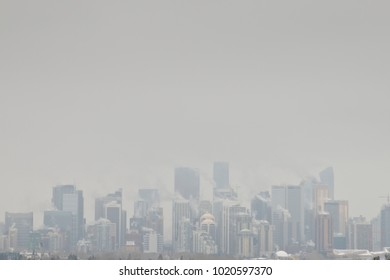 Skyline of a City whit a cloud of contamination