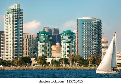 Skyline Cityscape of Downtown City of San Diego, California from Coronado Island