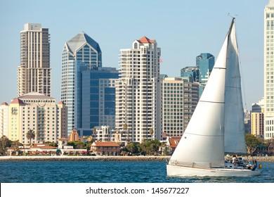Skyline Cityscape of Downtown City, San Diego, California from Coronado Island