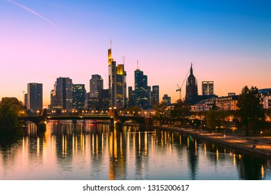 Skyline cityscape of Frankfurt, Germany during sunset. Frankfurt Main in a financial capital of Europe.