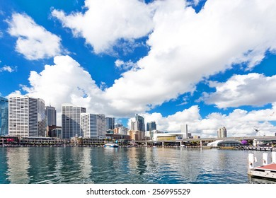 skyline and cityscape of modern city at harbor