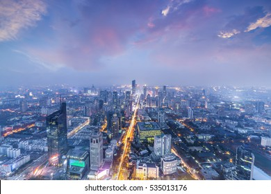 skyline and cityscape of modern city at night.nanjing,china