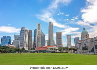 skyline, cityscape and National Gallery of Singapore on Padang field, the famous cricket ground