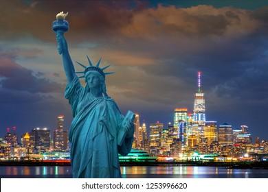 skyline cityscape night light , Landmarks of New York City, USA