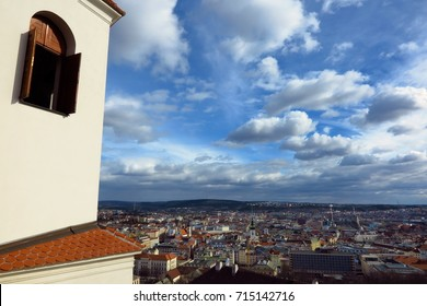 Skyline cityscape view from Spilberk Castle in Brno, Czech Republic, Southern Moravia