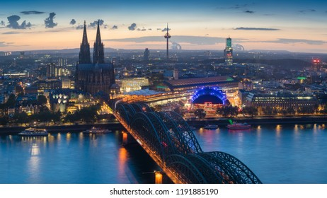 Skyline of Cologne in Germany at dusk
