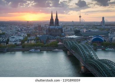 Skyline of Cologne in Germany at sunset