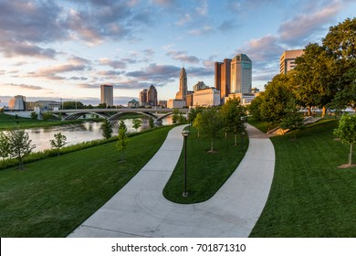 Skyline of Columbus, Ohio from Bicentennial Park bridge at Night
