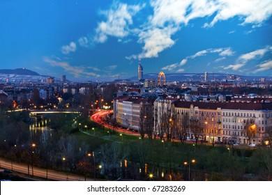 Skyline danube valley vienna at night